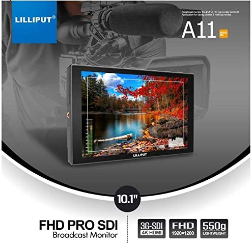 Full Warranty Directly in California LILLIPUT A11 10.1 FHD PRO 4K HDMI SDI VGA Input Broadcast Monitor w//G+G Technology Free Gold Mount Plate and Gimbal Stand Buy from USA Official Seller VIVITEQ