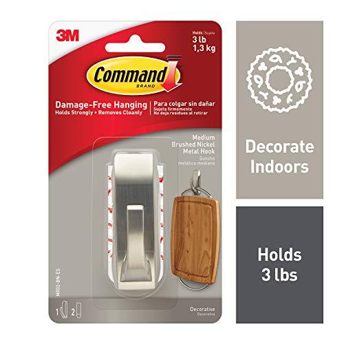 Command Modern Reflections Metal Hook, Medium, Brushed Nickel, 1-Hook (MR02-BN-ES)