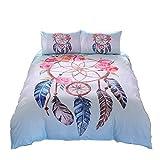 unique full bedding - Meeting Story Tribal Duvet Cover Set Skull Horns Feathers Boho Chic Bedding Set (Full, Fresh Windbell)