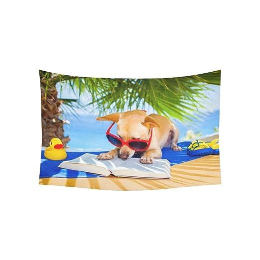 Fenda Tapiz Relajante Chihuahua Perro Lectura Libro bajo Las ...