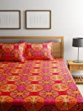 Bombay Dyeing Elements 120 TC Polycotton Double Bedsheet with 2 Pillow Covers - Red