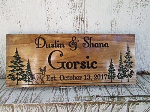 ign with Pine Trees and Deer, Custom Wooden Established Signs, Perfect Couples or Family Gift C109 (Engraved Wooden Plaques)