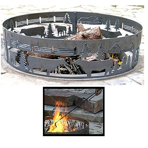 PD Metals Steel Campfire Fire Ring Cows On The Farm Design - Unpainted - with Fire Poker - Extra Large 60 d x 12 h Plus Free eGuide by PD Metals
