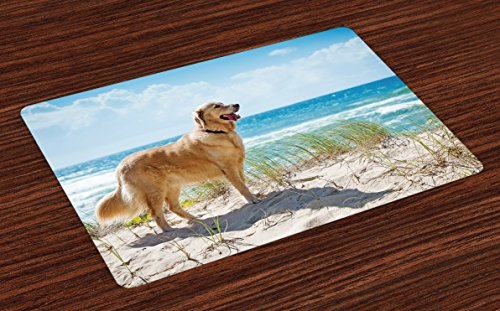 (Lunarable Dog Lover Place Mats Set of 4, Golden Retriever on a Sandy Dune Overlooking Tropical Beach Ocean Outside Sky, Washable Fabric Placemats for Dining Room Kitchen Table Decoration, Multicolor )