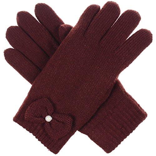 Pearl Plush Fleece Glove (BYOS Womens Winter Ultra Warm Soft Plush Faux Fur Fleece Lined Knit Gloves W/ Decorated Cuff (Burgundy Pearl Bow Cuff))