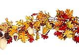 CraftMore Premium Fall Decoration Leaf Garland with Acorns, Pine Cones, Fabric Acorns and Berries, 70''