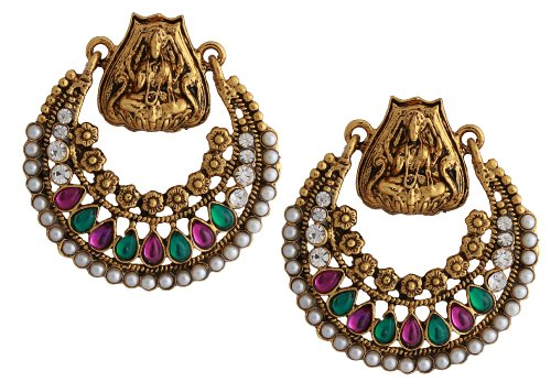 [Store Indya Hoop Earrings Set Indian Jewelry Gift Ideas for Women & Girls] (Indian Costume Ideas For Women)