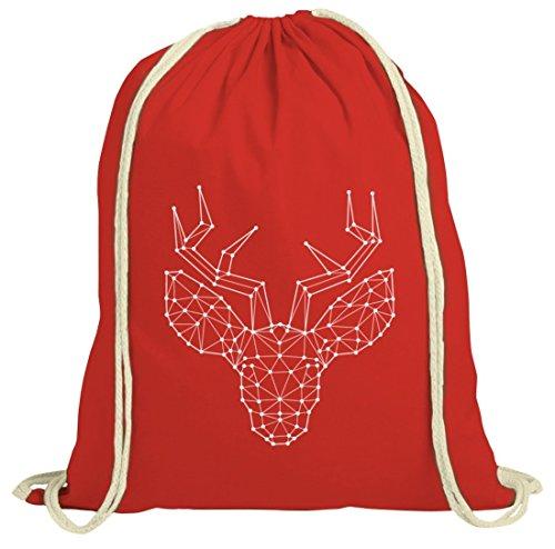 ShirtStreet Weihnachten natur Turnbeutel mit Polygon Rentier Motiv Rot Natur