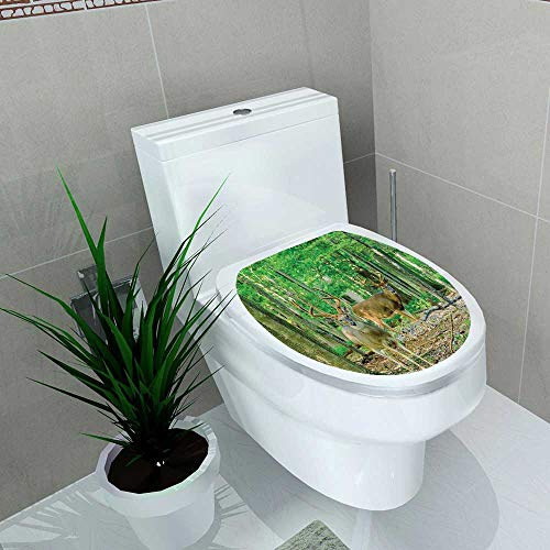 Printsonne Decal Wall Art Decor abitat Woodland Collecti Whitetail Antlers in Tropical Trees Forest Toilet Decoration W13 x L13 ()