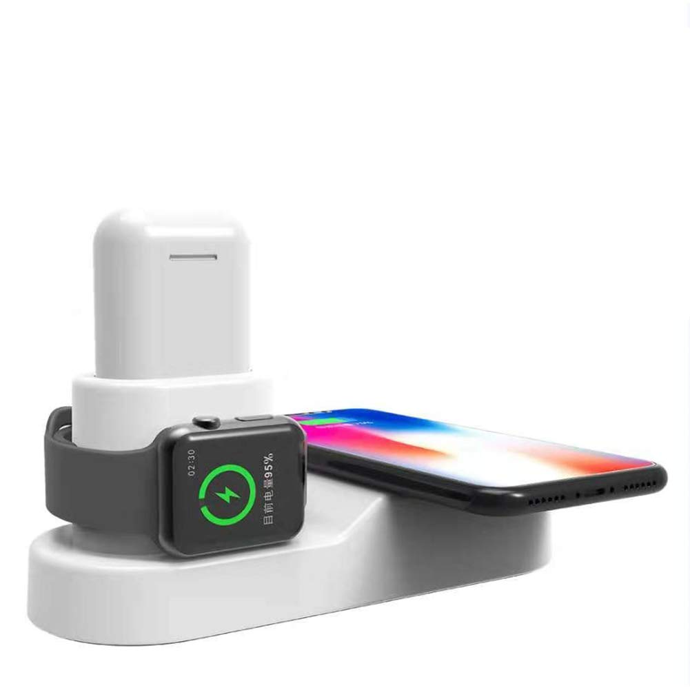 FACEVER 36W 3 in 1 Wireless Charger Station with USB Output, Fast Qi Wireless Charger Compatible with Apple Watch iWatch Airpods iPhone Xs MAX XR X 8 Plus, Samsung S9 S8+, Qi-Enabled Devices -White by FACEVER