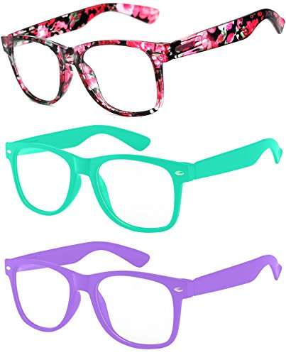 3 Pairs Kids Clear Lens Sunglasses Flower Red Turquoise ()