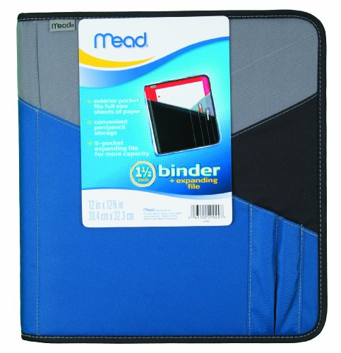 Mead 1-1/2 Inch Zipper Binder With Expanding File, 3 Ring