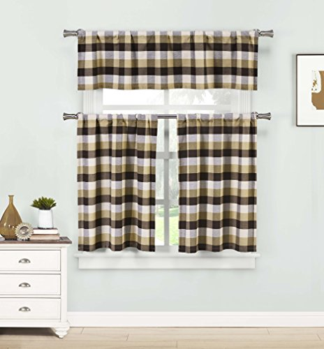 Three Piece Kitchen/Cafe Tier Window Curtain Set: Large Ging