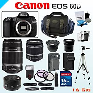 Canon 18MP EOS 60D Bundle - Includes Canon EF-S 18-55mm Lens - Canon EF-S 55-250mm f/4-5.6 IS Lens - Canon EF 50mm f/1.8 Lens - Wide Angle and Telephoto Lenses - 16GB Memory Card- Spare Battery - 3 Piece Filter Set - 4 Piece Macro Lens Kit & More