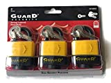 Guard Security Keyed Padlocks - Set of 3 High Security Padlocks with 6 Keyed Alike (Matching) Keys - Great Value!