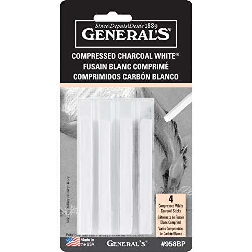 General Pencil Compressed Charcoal Sticks 4/Pkg-White - Soft Assorted ()