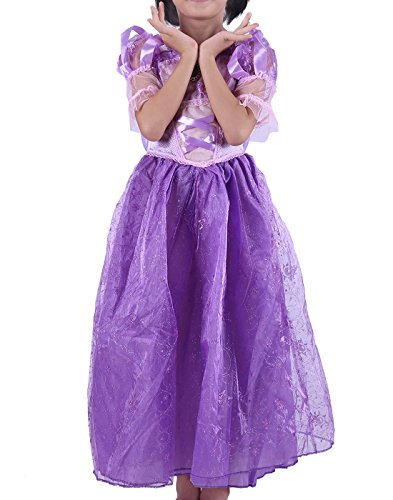 Halloween Costumes In 10 Minutes (HDE Girls Princess Dress Halloween Costume Sparkling Purple Satin Ball Gown)