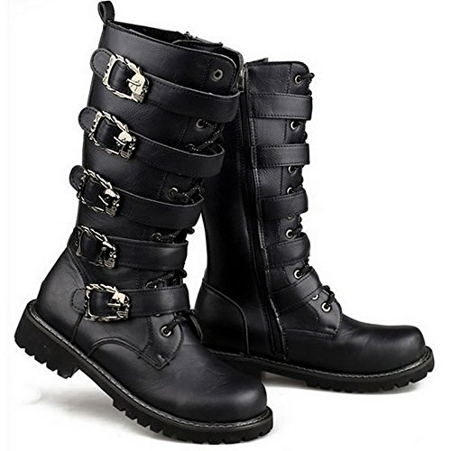 Martin Motorcycle Boots Men Black Retro Combat Boots Belt Buckle Punk Leather Military Boots (12 US Men/13 US Women) - Black Punk Shoes
