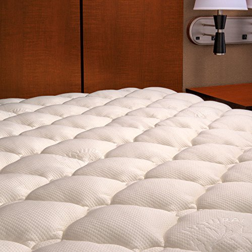 Bamboo Mattress Pad with Fitted Skirt - Extra Plush Cooling Topper - MANUFACTURER DEFECTS - Queen