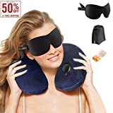 Iserlohn Inflatable Travel Pillow Set Soft Neck Support Pillow for Sleeping on Airplane, Train, Car and Home, with 3D Contour Eye Mask, Earplug and Carry Pounch, 3 Seconds to Full Inflation
