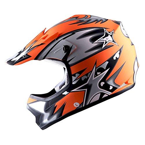 Orange Helmet Motocross (WOW Youth Kids Motocross BMX MX ATV Dirt Bike Helmet Star Matt Orange)