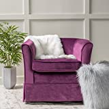 Rischa Fushsia New Velvet Swivel Chair with Loose Cover For Sale