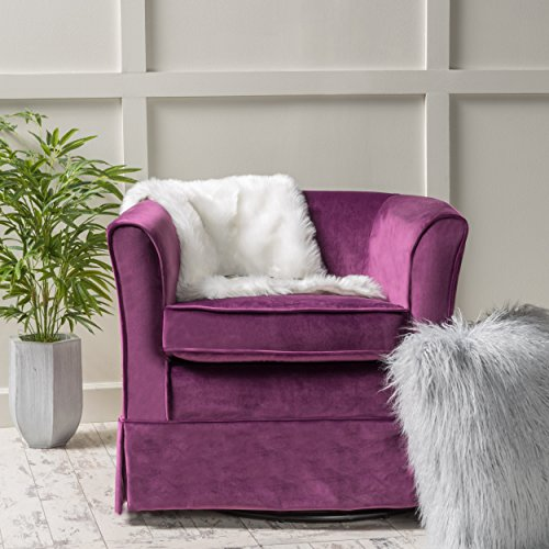 Rischa Fushsia New Velvet Swivel Chair with Loose Cover