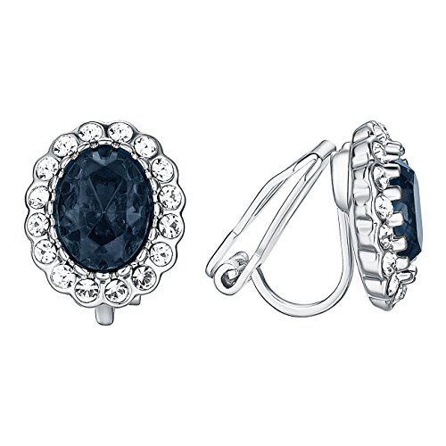 (VOGEM Sapphire Clip On Earrings For Women 18K White Gold Plated Rhinestone CZ Oval Halo Evening Prom Earrings)