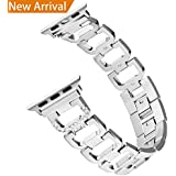 Hotodeal Bling Bands for Apple Watch Band 38mm for Women, Stainless Steel Metal Replacement Iwatch Wristband Sport Strap Replacement for Apple Watch Nike+, Series 3/2/1, Sport, Edition, Silver