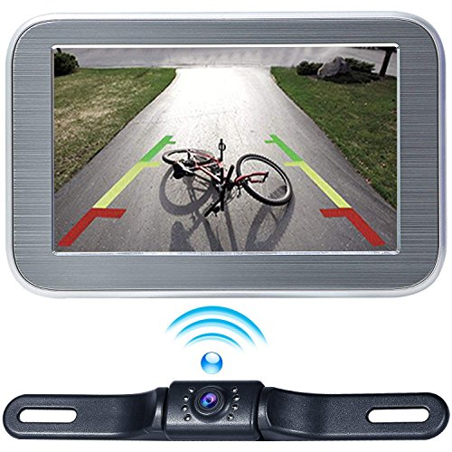 Wireless Backup Camera Monitor System 5'' LCD Wireless Monitor Rearview Revering Rear View Back up Camera Backing Parking Car Vehicle 12V Only E5 eRapta by eRapta