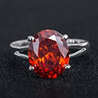 Kumpoon Fashion 925 Silver Oval Shape Red Garnet Women Wedding Party Ring Size 6-10 (10)
