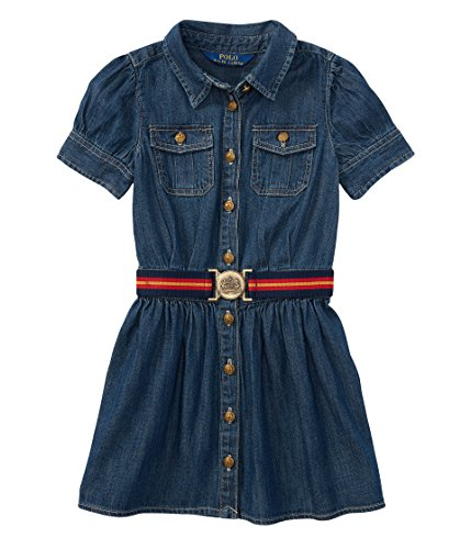 RALPH LAUREN Polo Girls Quincy Wash Cargo Shirtdress Dress 6X