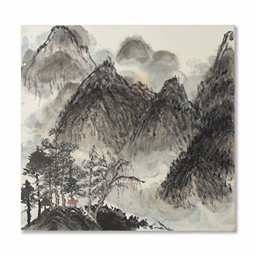 Chinese Painting Traditional Village Ink and Wash Painting Wall Art Asian Chinese Landscape Prints Artwork 100% Handmade for Home Decoration Office Decor Ready to Hang(50X50CM) (Calligraphy Symbol Scroll)