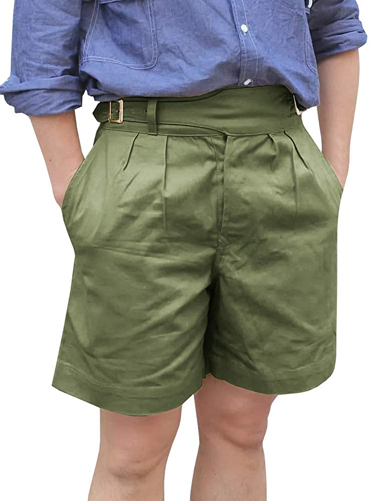 Mens Casual Cotton Shorts Flat Front Pleated Classic Summer Comfort Chino Front Knee Length Pant