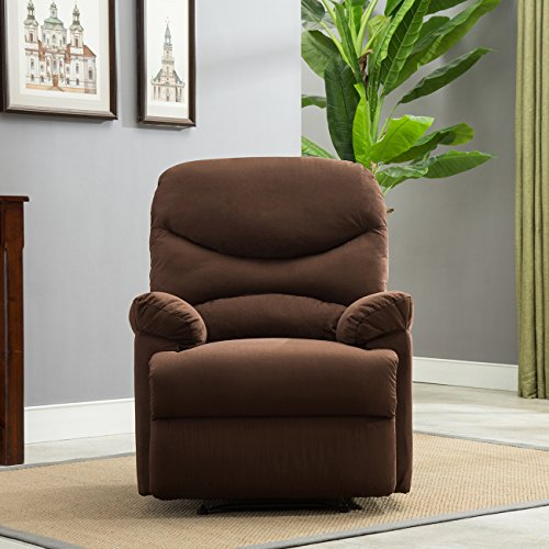 Belleze Microfiber Recliner Sofa Chair Home Office Reclining Positions Ergonomic Armrests/Footrests, Brown (Difference Between Faux Leather And Bonded Leather)