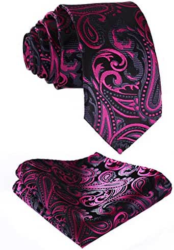 HISDERN Men's Silk Paialey Necktie Set