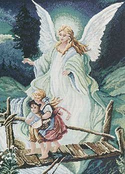 Guardian Angel Counted Cross Stitch Kit-7.5x9.875 14 Count