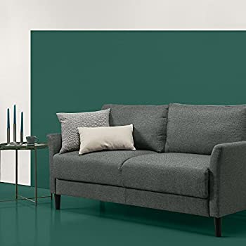 Zinus Classic Upholstered 71in Sofa/Living Room Couch, Grey Hint Green