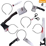 Jovitec 6 Pieces Halloween Horror Hair Bands Zombie Headbands Cleaver Bayonet Saw Axe Scissor Pattern Headbands for Halloween Carnival Masquerade, 6 Styles