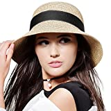 FURTALK Womens Beach Sun Straw Hat UPF50 Travel Foldable Summer Hat