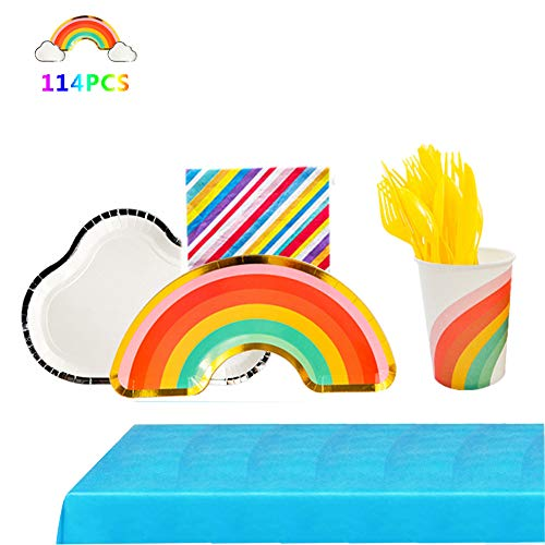 Ipalmay 114 Piece Rainbow Theme Party Supplies Set Disposable Tableware Kit Including Plates, Cups, Napkins, Spoons…