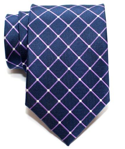 Blue Pattern Tie (Retreez Dots and Check Pattern Woven Men's Tie - Navy Blue)