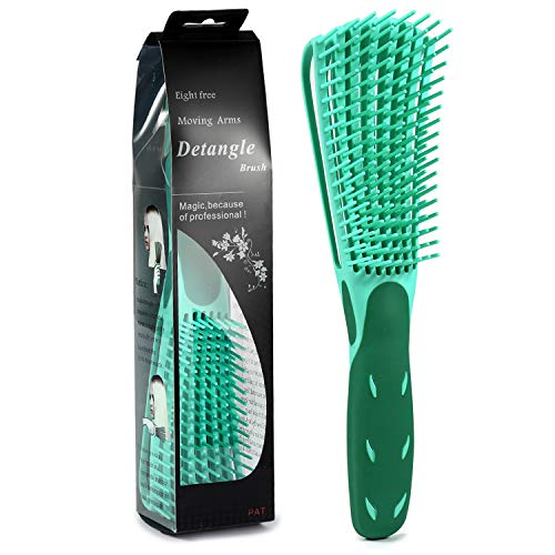 BESTOOL EZ Detangler Brush, Detangling Brush for Natural Hair, Curly Hair Brush Detangle All Wet or Dry Afro America 3a to 4c Wavy Kinky Curly Coily Hair (Green)