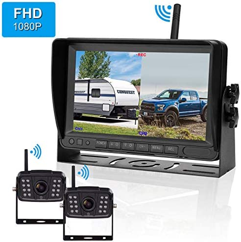 FHD 1080P Digital Wireless 2 Backup Camera for RVs Trailers Trucks Motorhomes 5th Wheels 7 Monitor with DVR Highway Monitoring System IP69K Waterproof Super Night Vision