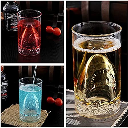 Erjialiu 300 Ml Beber Doble Vidrio Pared Cerveza Vino Vino Whisky Taza de caf/é Tibur/ón Copa de Vidrio Drinkware