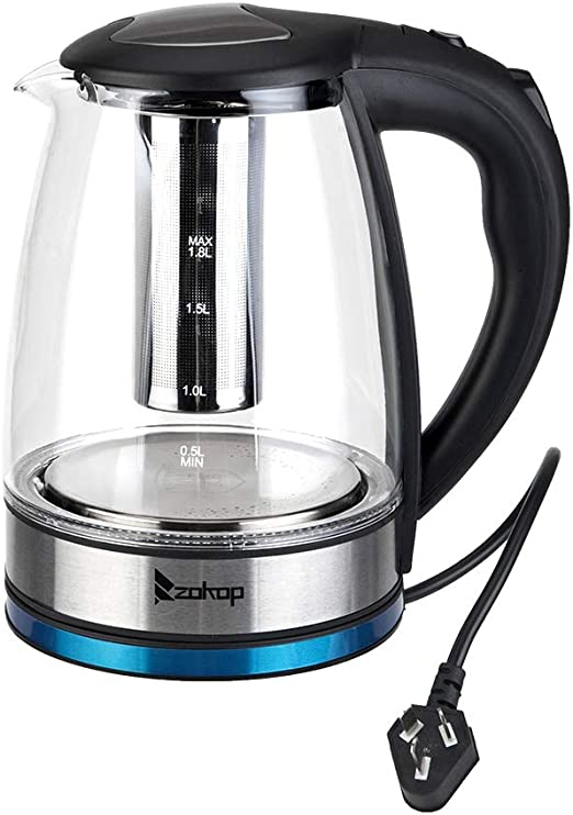 Zokop 1.8L Cordless Electric Kettles with Water Filter