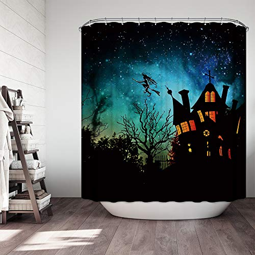 Simpkeely Vintage Shower Curtains, Gothic Scene with Flying Witch, Haunted House Party Theme Décor, 72