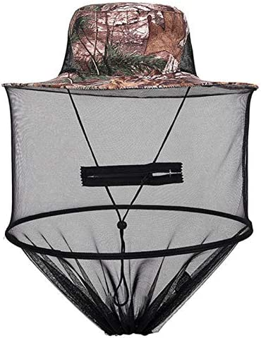 JVSISM 迷彩魚釣り用帽子、蜂の飼育、昆虫の蚊帳防護キャップ、メッシュの釣りキャップ、アウトドア、日よけ、長い首、頭部のカバー、旅行とキャンプのキャップ、4