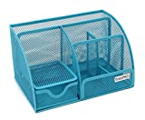EasyPAG Mesh Desktop Organizer 6 Component Accessories Cady with Drawer, Blue