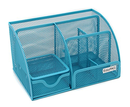 EasyPAG Mesh Desktop Organizer 6 Components Desk Caddy Organizers with Drawer, Blue